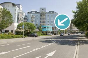 Hauptstraße Singen in Richtung Parkhaus Zentrum/Gambrinus